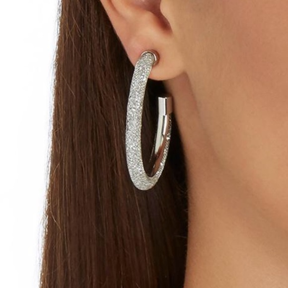 37a0128b1fd2b Swarovski Silver Stardust Hoop Earrings